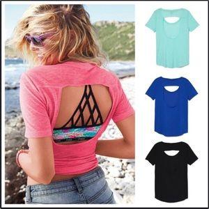 Black Open Back T-Shirt
